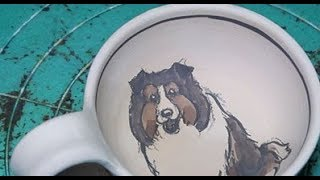 陶芸:シェルティーの描き方、pottery:How to draw Sheltie