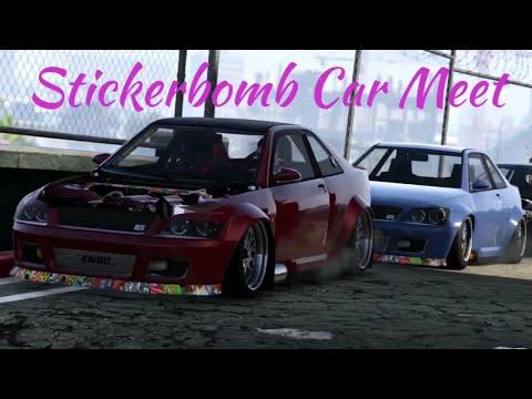 Sticker bomb car meet in gta 5 online