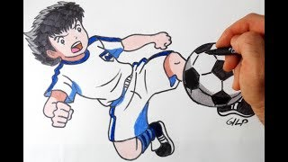 How to draw and color Captain Tsubasa