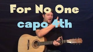 For No One (The Beatles) Guitar Lesson Easy Strum Chord Capo 4th Fret