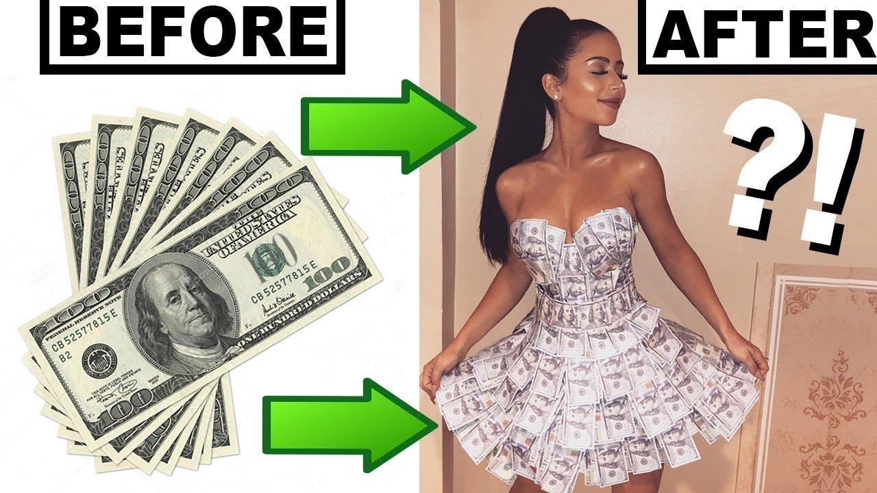 1b0fe84e438 MAKING A DRESS OUT OF MONEY!