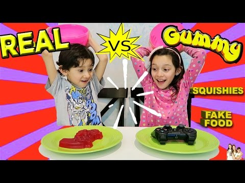Thumbnail: Real Food vs Squishies Challenge - Super Gross fake Food - Kids React - Candy Challenge