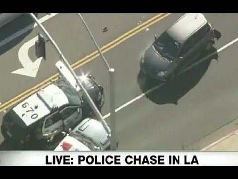 Los Angeles: Crazy BACKWARDS Police Chase! Live footage