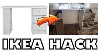DIY   Mirrored Nightstand IKEA Hack - QUICK & EASY ⎮MAKEUP TABLE TRANSFORMATION 2018
