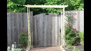How to build an easy wooden garden arbor / arch / trellis. My husband built me this wooden garden arch to help hold the knockout ...