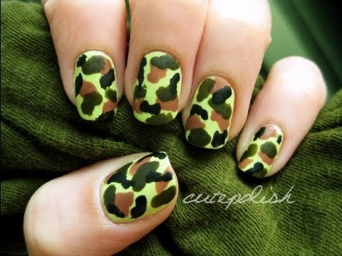 Easy camouflage nail art youtube easy camouflage nail art prinsesfo Choice Image