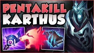 WTF! PREDATOR DAMAGES EVERYONE KARTHUS ULTS?? PENTAKILL KARTHUS TOP GAMEPLAY! - League of Legends