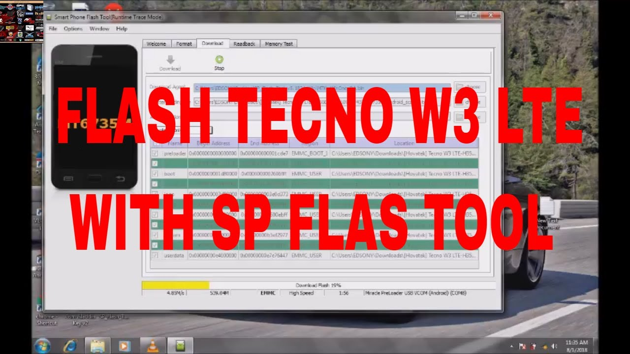 how to flash tecno w3 lite with sp flash tool