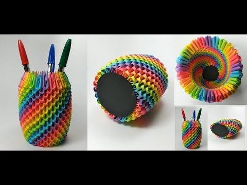 Origami | DIY 3D origami pen holder | How to make | Paper craft | 5 minute craft | Desk decor