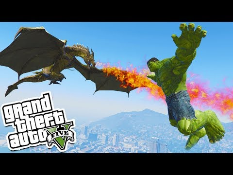 GTA 5: THE HULK vs THE DRAGON MOD 🐊💥  (GTA 5 Mod)
