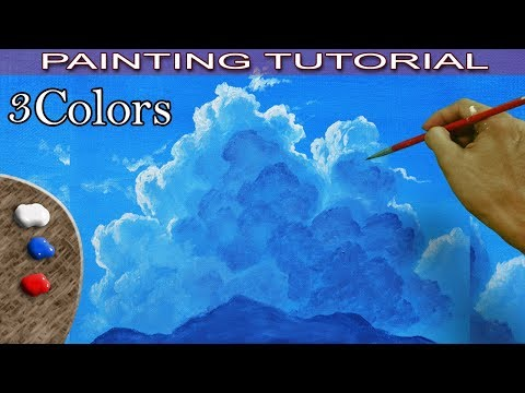 Acrylic Painting Tutorial How to Paint Sky and Back Light Clouds in Basics by JM Lisondra