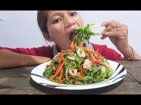 eating show eat Nhorm vegetables with meat so delicious food