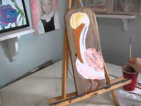 Beginner Acrylic Painting Tutorial A Pelican On Reclaimed Wood
