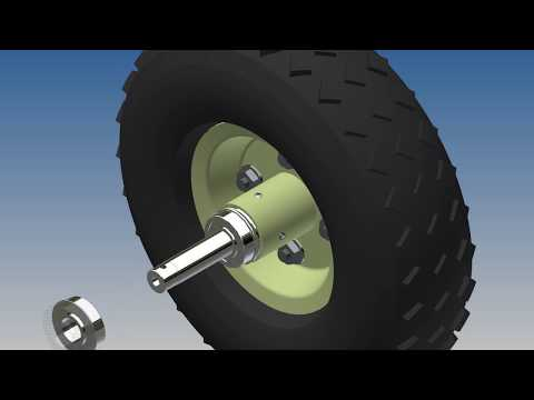 """Installing A Custom Drive Axle In A Harbor Freight 10"""" Pneumatic Tire"""