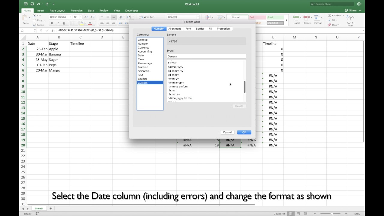 Excel 2016 Mac  How to Create Timeline for Your Project Including     Excel 2016 Mac  How to Create Timeline for Your Project Including Labels  and Sorted by Date