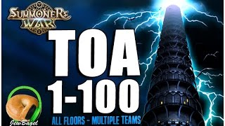 SUMMONERS WAR : Full Trial of Ascension Floors 1-100 - Multiple Teams