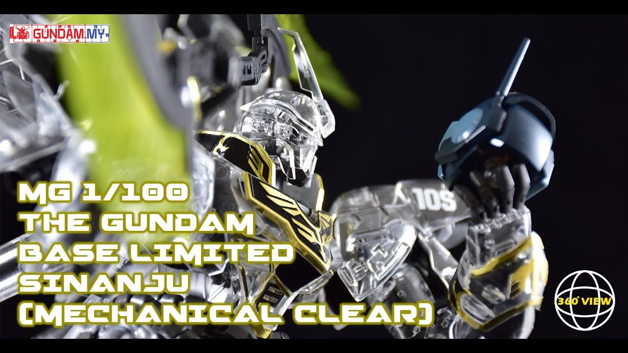 MG Sinanju Gundam Base Limited Clear Review.