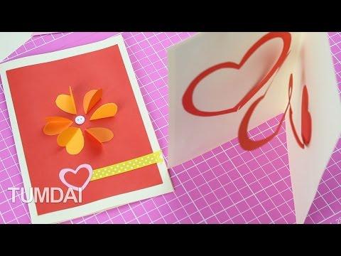 การ์ดป๊อบอัพ ลายหัวใจ ประดับดอกไม้ ของขวัญวันวาเลนไทน์ สวยๆ
