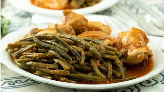 Greek Style Braised Chicken with String Beans: Kota me Fasolakia