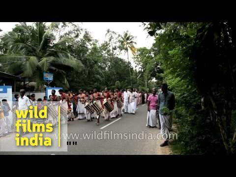 Chenda Melam group leading procession on Mother Mary Feast Day - Kerala