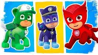 PJ Masks as PAW Patrol Fun Coloring Pages | Learn Colors Learning Videos for Toddlers