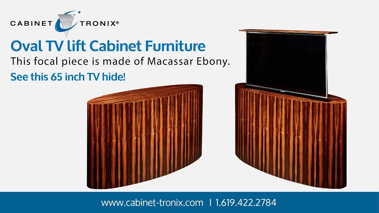 Macassar Ebony Oval Tv Lift Cabinet Hides 65 Inch Flat Screen Youtube