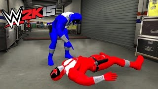 WWE 2K15 POWER RANGERS - Green Ranger vs Red Ranger vs Black Ranger vs Blue Ranger - Street Battle