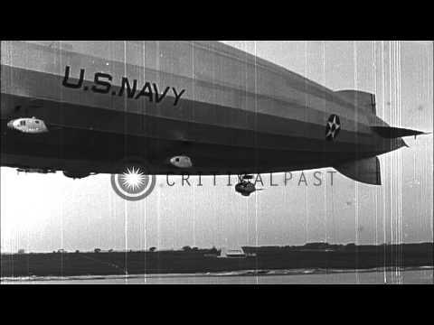 Airship USS Los Angeles Moored To The Mast Of USS Patoka In Newport, Rhode Island...HD Stock Footage