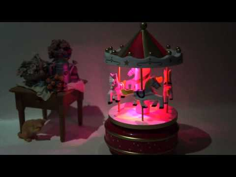 Red Wooden Carousel Music Box - Castle in the sky