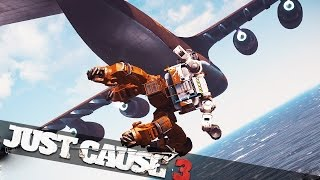 DESTROYING CARGO PLANE WITH A MECH!!! :: Just Cause 3 Mech Assault Epic Stunts!