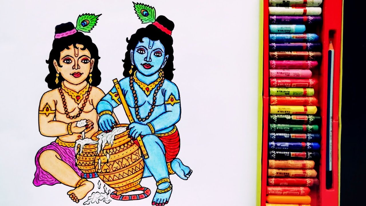 How to Draw Time-lapse Painting Of Lord Krishna and Balram | Drawing Of Shri Krishna Janmashtami