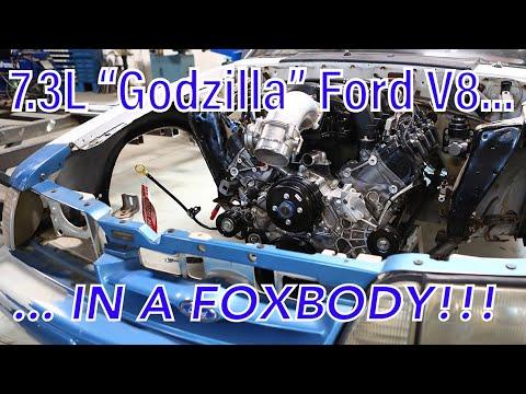 "Ford 7.3L ""Godzilla"" V8 Foxbody Mustang Engine Swap — Team Z 446-cube Small-block Top Secret Project"