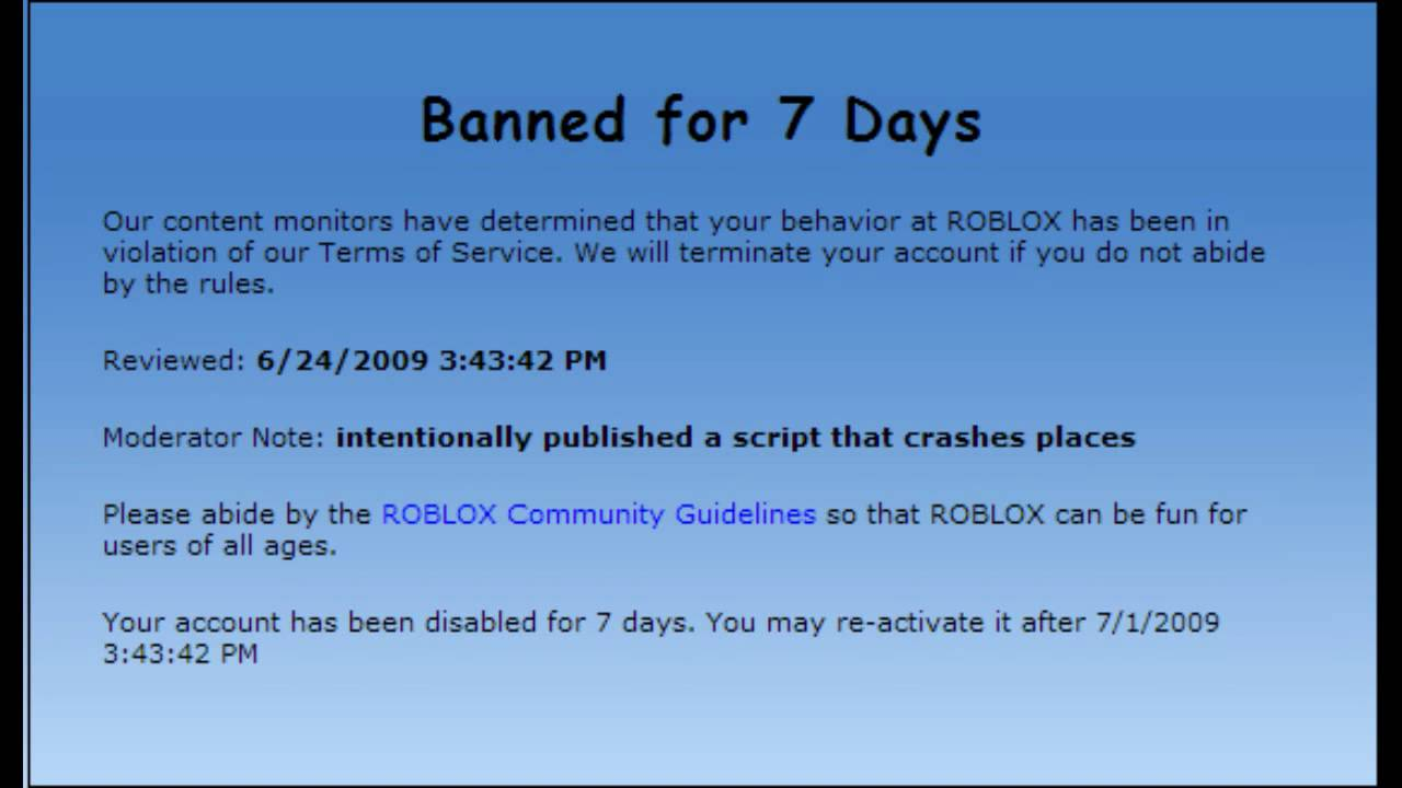 Roblox Banned For 7 Days Doovi