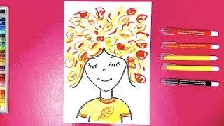 Девочка ОСЕНЬ урок рисования для детей от РыбаКит