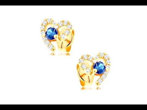 f638b0295 Jewellery - 585 gold earrings - dark blue sapphire heart contour ...