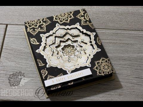 Cardmaking How to: make a 3D layered kaleidescope mandala box card with Many Mandala's