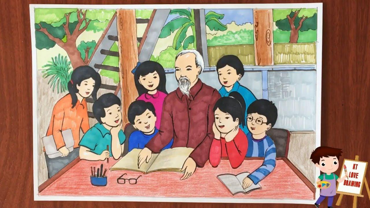 Vẽ tranh Bác Hồ và thiếu nhi – Cách vẽ tranh thiếu nhi với 5 điều Bác Hồ dạy.