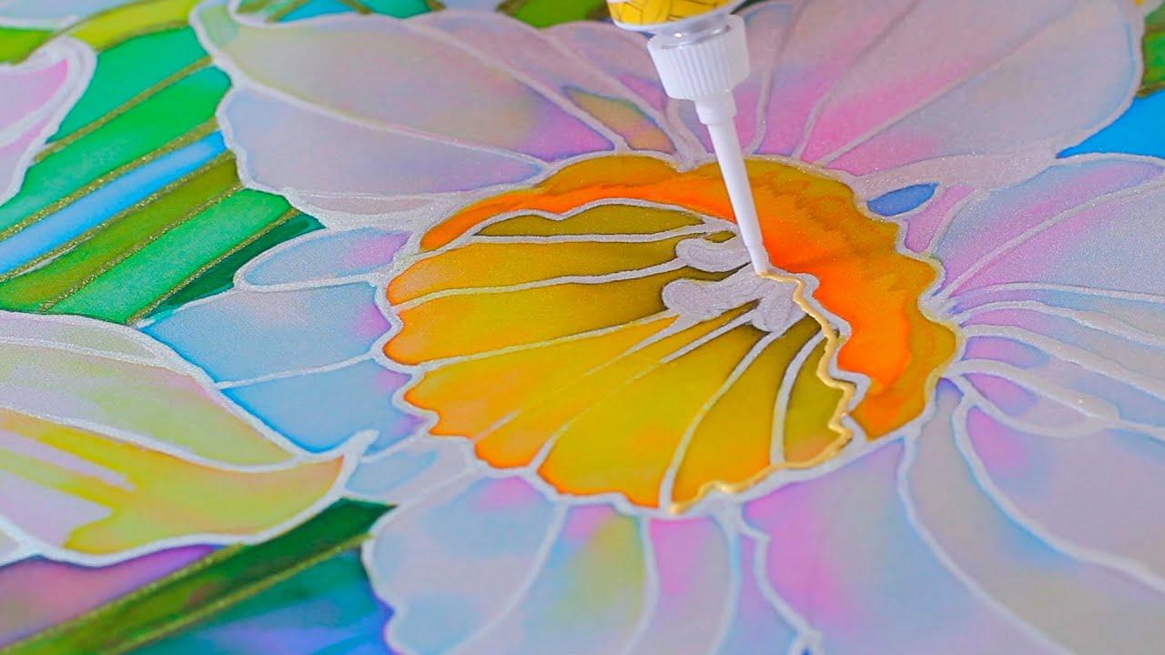 Холодный батик художественная роспись ткани