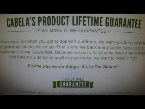 Cabela's Lifetime Guarantee On Every Cabela's Branded Item