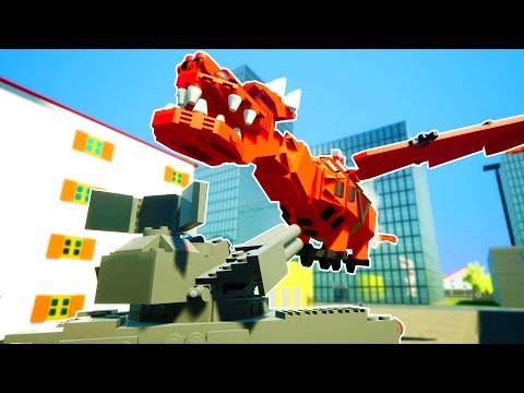 LEGO DRAGON DESTROYED BY GIANT ANTI AIR TOY CANNON! - Brick Rigs Workshop Creations Gameplay