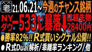 【今週(6/21~6/25)のチャンス銘柄】週末のNYダウは-533ドルの暴落となった。本動画では、ラジオヤジが開発した勝率82%の売買シグナル「R21」の詳細を公開しつつ、今週の売買チャンスを探る。