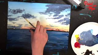 STEP by STEP Beginner Acrylic Painting Sunset Lake Charles LA