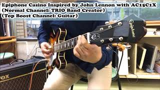 Epiphone Casino Inspired by John Lennon sound check with VOX AC15C1X