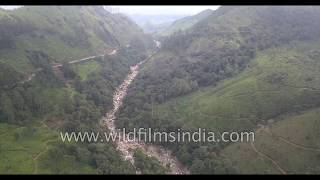 Tea Estates and waterfalls in Munnar : aerial Nilgiri range of Kerala