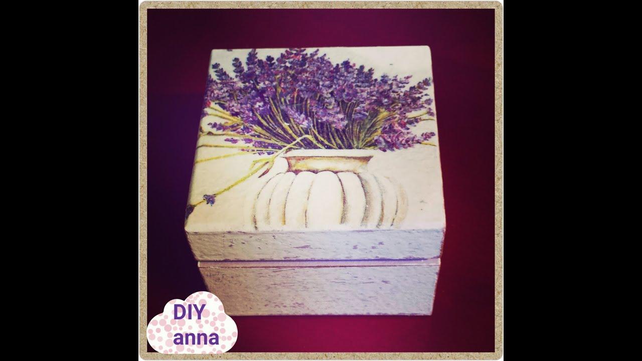 decoupage shabby chic jewelry box lavander napkin ideas DIY craft