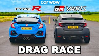 Toyota GR Yaris v Honda Civic Type R - DRAG RACE
