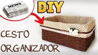 DIY: COMO FAZER CESTO ORGANIZADOR com JORNAL E TECIDO