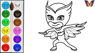 Раскраска для детей АЛЕТТ из мультика ГЕРОИ В МАСКАХ , Раскраски Малышам. Учим цвета.