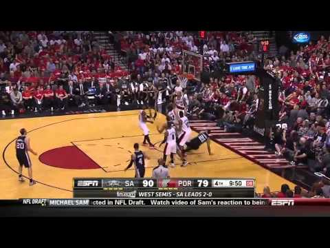 NBA, playoff 2014, Spurs vs. Trail Blazers, Round 2, Game 3, Move 40, Tony Parker, assist