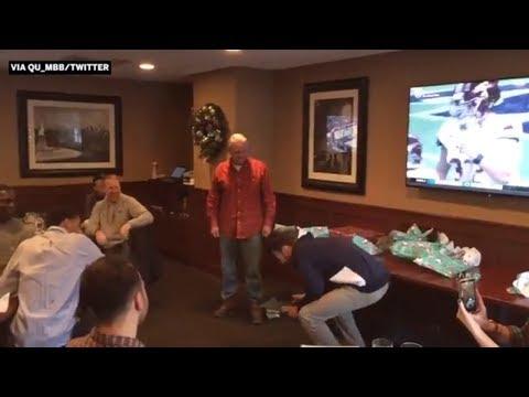 Quinnipiac basketball coach surprises player with scholarship during Secret Santa | ESPN